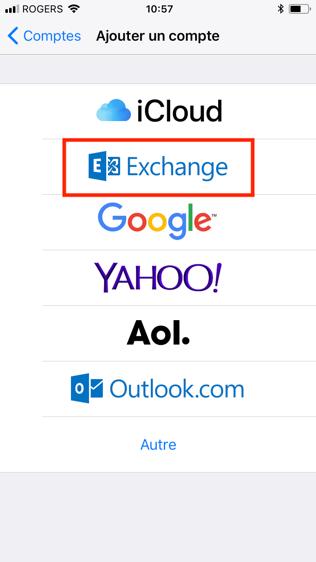 Configuration Microsoft Exchange, étape 4, sélectionnez ajouter un compte