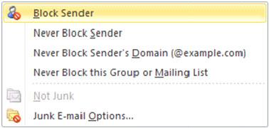 Screenshot of Outlook menu