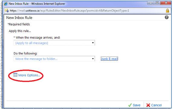 Screenshot of the Inbox Rules window