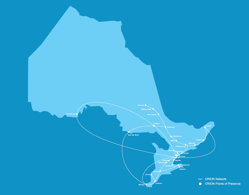 Carte de l'Ontario montrant les points de présence au sein du réseau ORION et les liens entre les institutions de notre réseau.