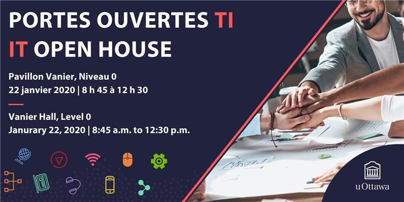 Bannière violette, avec texte, «Portes ouvertes TI | IT Open House 'avec des icônes informatiques colorées et un groupe empilant leurs mains au milieu d'une zone de travail