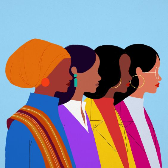 graphique de quatre femmes