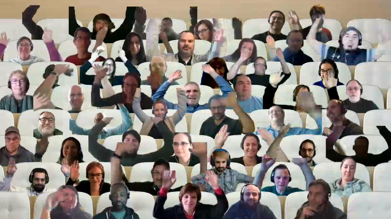 Une capture d'écran de la réunion publique de tout le personnel organisée sur Zoom.