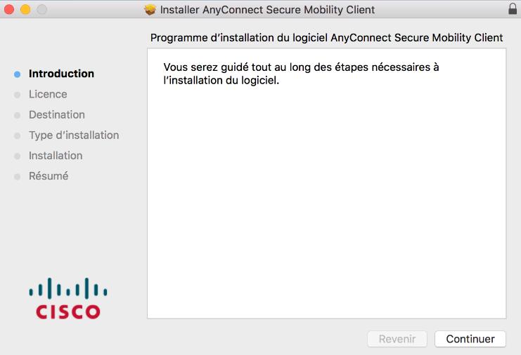 capture d'écran de la fenêtre du programme d'installation AnyConnect