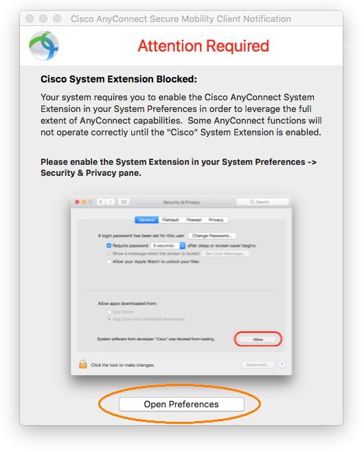capture d'écran de la notification du client cisco anyconnect Secure Mobility