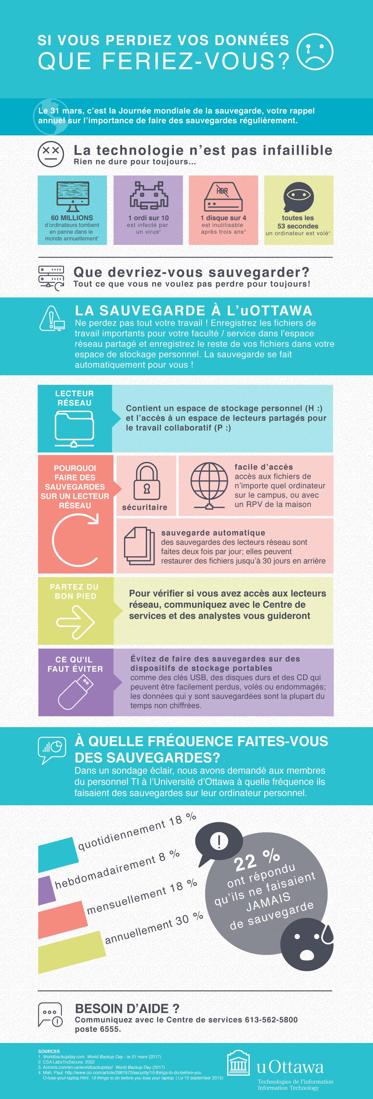 Inforgraphique pour la Journée mondiale de la sauvegarde. Si vous perdiez vos données que feriez-vous?