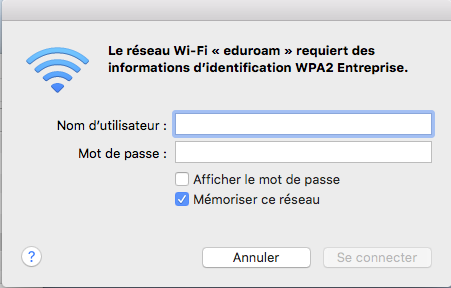 Configurer eduroam pour Mac. étape 3, inscrivez vote nom d'utilisateur et mot de passe.