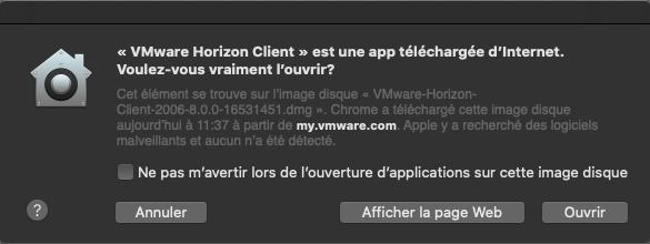 Capture d'écran de la fenêtre indiquant que l'application a été téléchargée sur Internet. Des boutons Cancel, show web page et open.