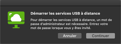 Capture d'écran de Remote USB and printing services avec le contenu Start remote USB and printing services. To start remote USB and printing services an Admin password will be required. Please input your password when prompted.