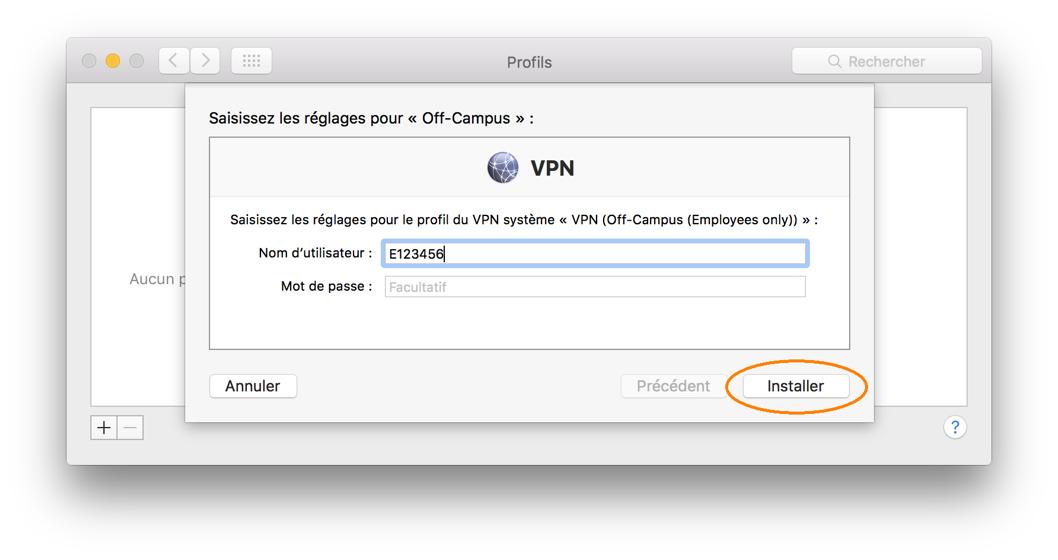Téléchargement et installation d'un profil RPV, étape 3, saisissez nom d'utilisateur et mot de passe