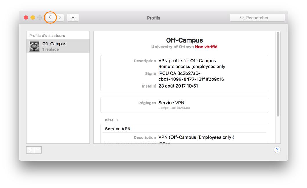 Téléchargement et installation d'un profil RPV, étape 5, La fenêtre Profils indique que le profil RPV a été installé