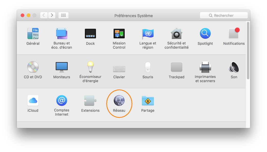 Téléchargement et installation d'un profil RPV, étape 6, Cliquez sur l'icône Réseau.