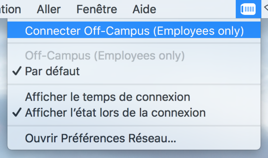 Connexion au RPV de l'Université d'Ottawa, étape 1, cliquez sur le profil RPV approprié, généralement Connecter Off-Campus (Employees only).