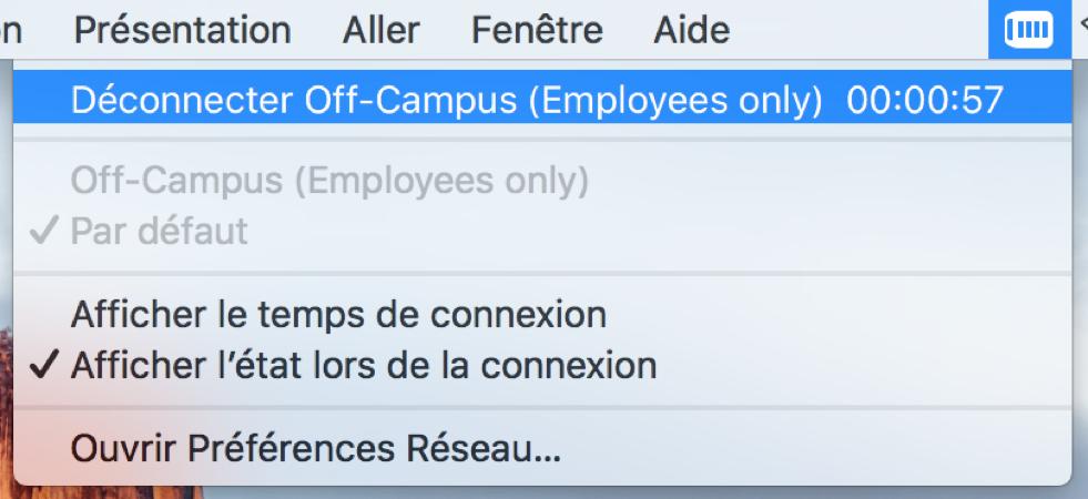 Déconnexion du RPV de l'Université d'Ottawa, étape 1, cliquez sur l'icône RPV