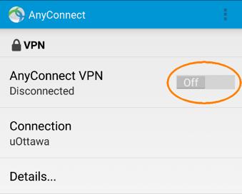 Se connecter au RPV de l'Université d'Ottawa, étape 2, tapez sur le bouton de contrôle
