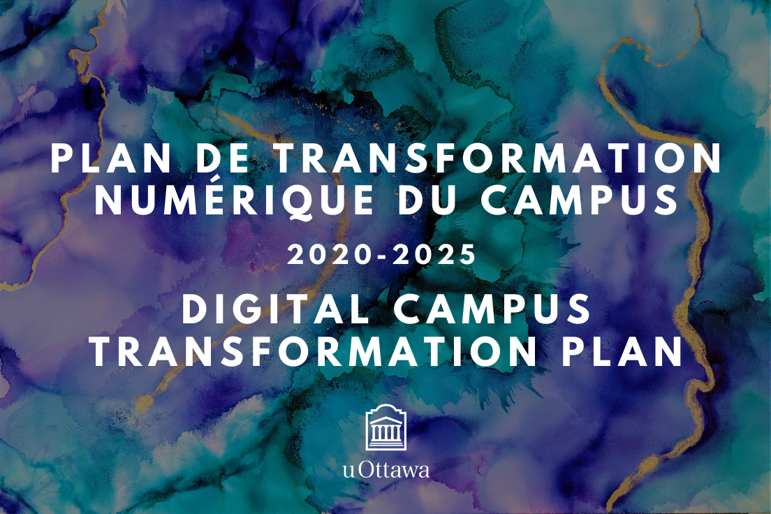 image aquarelle avec la texte  Plan de transformation numérique du campus 2020-2025 Digital campus transformation plan