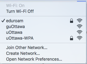 Configuring eduroam for Mac, step 2, select eduroam