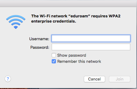 Configuring eduroam for Mac, step 3, enter credentials
