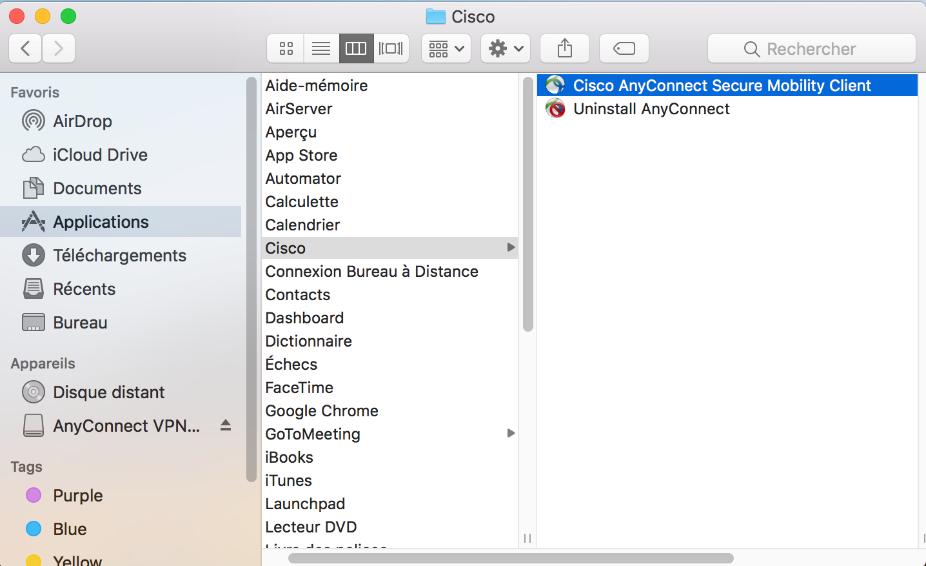 capture d'écran du dossier Applications dans le Finder