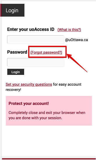 What if I forget my new password? step 1