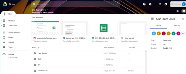 This image depicts the Web Google Drive File Stream home page.