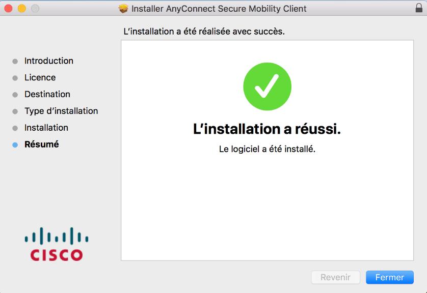 capture d'écran de l'installation d'AnyConnect est terminée