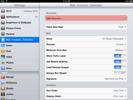 Step 2, Select Mail, Contacts, Calendars (left menu), then select Add Account...(right menu).