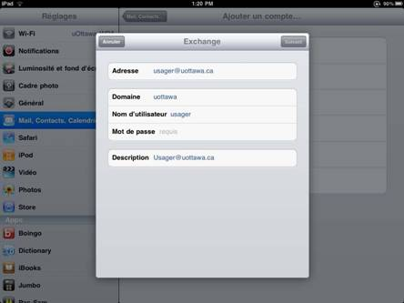 étape 4, Entrez vos données sur l'écran Exchange. Une fois terminé, cliquez sur Suivant
