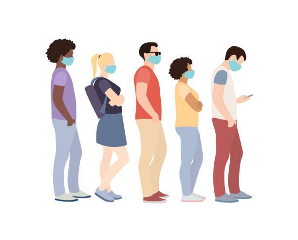 cinq personnes masquées dans une queue