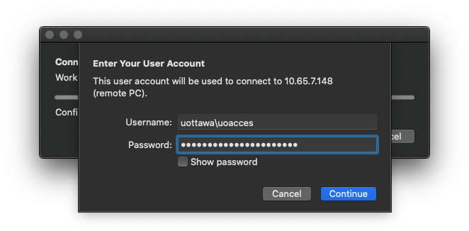 Enter User account screen with a field to input username and an input field for password, a cancel button and a continue button