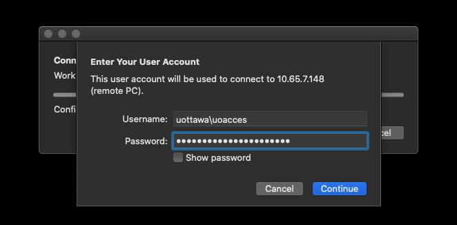Entrez dans l'écran du compte utilisateur avec un champ pour saisir le nom d'utilisateur et un champ pour le mot de passe, un bouton d'annulation et un bouton de continuation