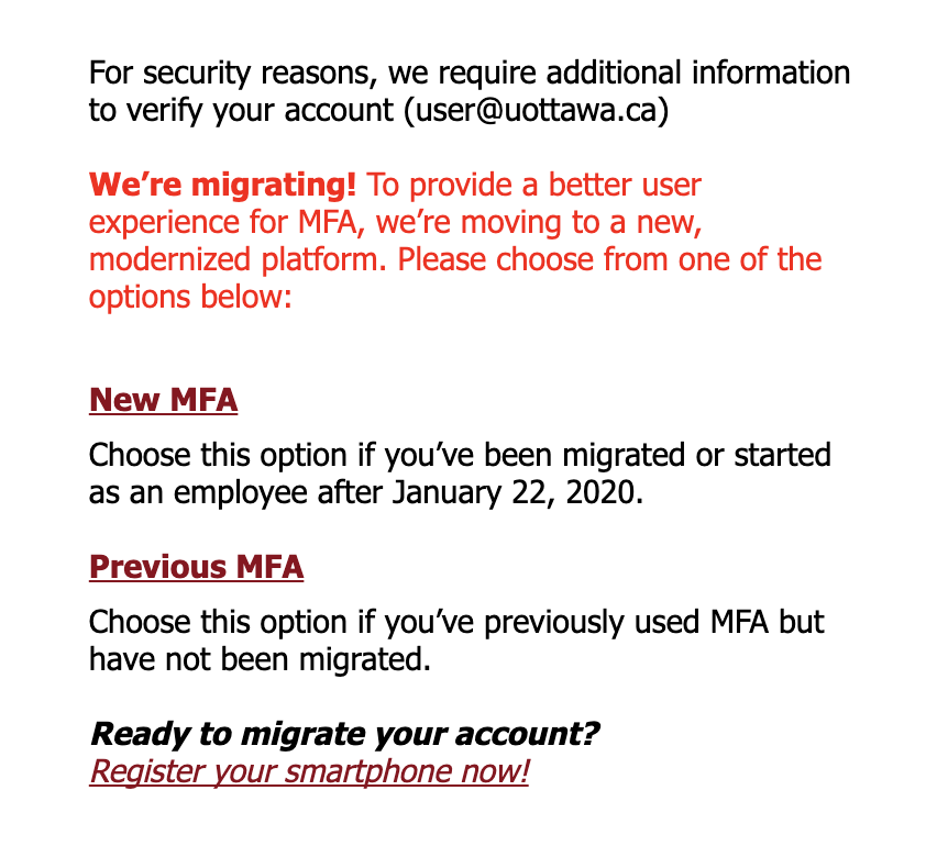 MFA system authentication screen, 'for security reasons, we require additional information to verify your account New MFA, Previous MFA' options