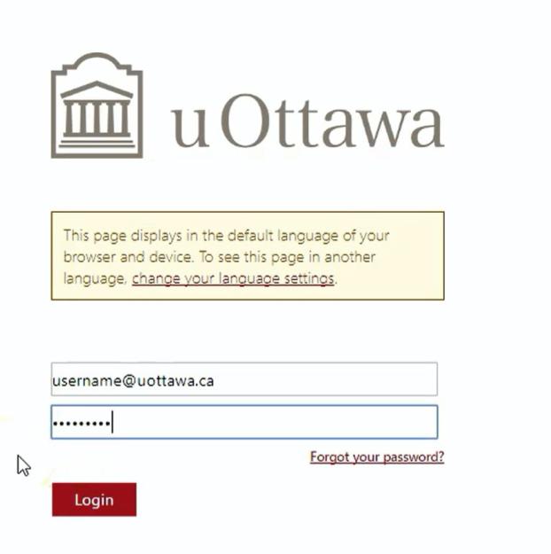 UOaccess credentials login screen