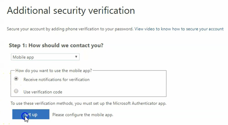 Additional security verification screen with drop down menu and radio buttons
