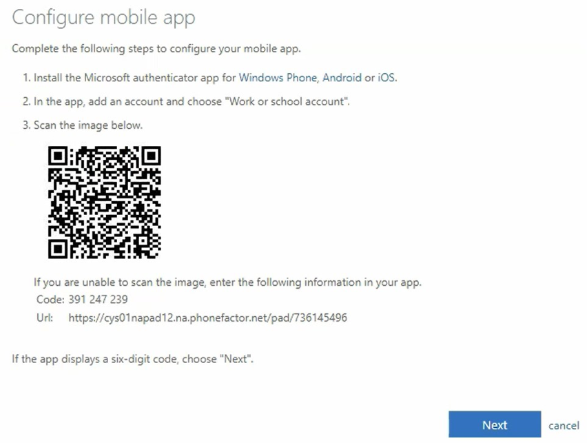 Configure mobile app screen, has a QR code and instructions