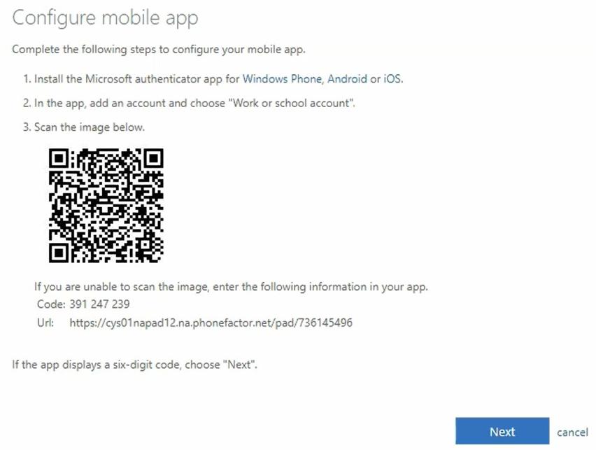 Screen showing blue Next button