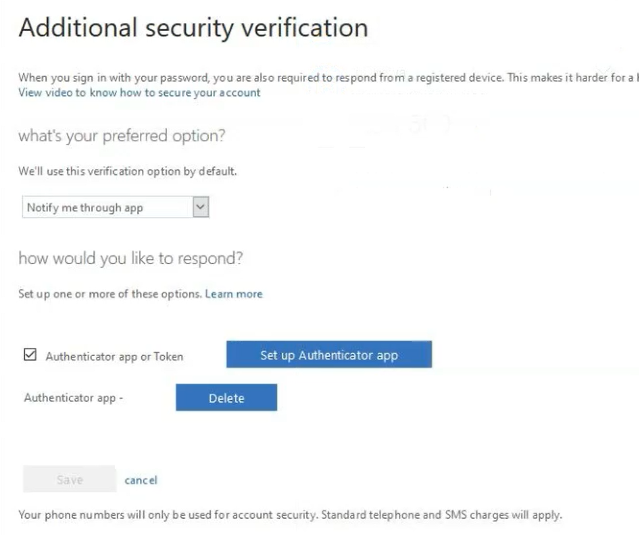 Additional security verification screen showing preferred options, blue button to 'Set up Authenticator app' and a blue button to 'delete'