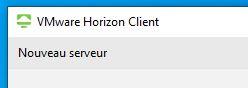 Capture d'écran de VMware Horizon, New server