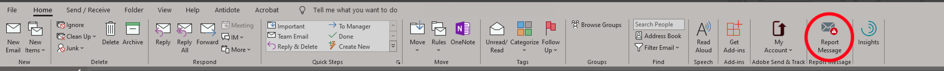 Outlook home ribbon with Report message option circled on a pc