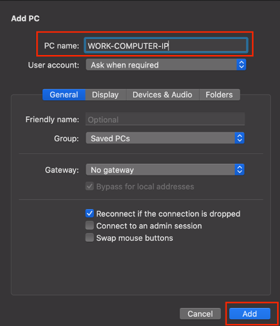 Add PC screen shows input fields for PC Name, User Account, Friendly Name, Group, Gateway, a blue Add button, and a grey Cancel button