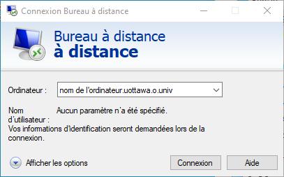 Fenêtre Connexion Bureau à distance affichant l'icône de l'ordinateur et le champ déroulant Ordinateur, le texte du nom d'utilisateur et un bouton de connexion et un bouton Aide