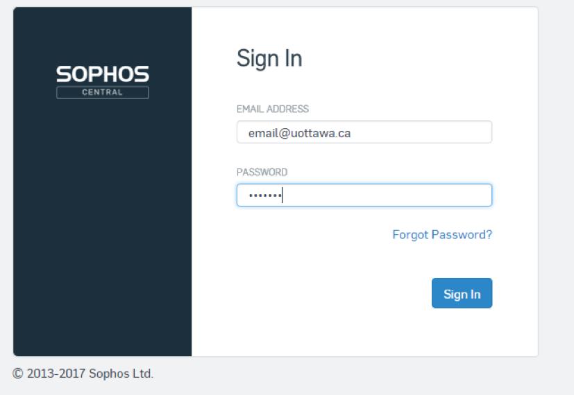 Sophos Self-recovery portal screen