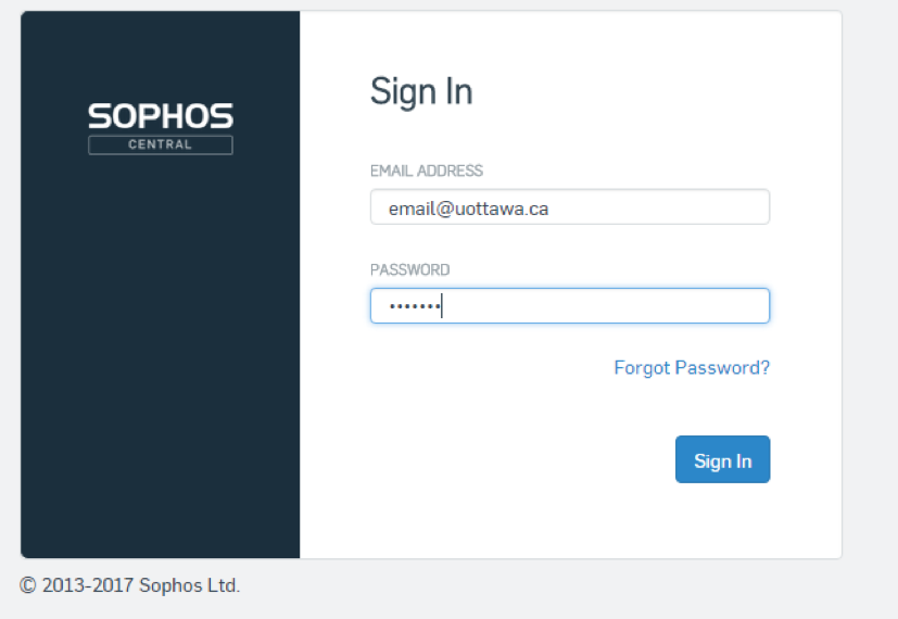 Sophos self-recovery portal login screen