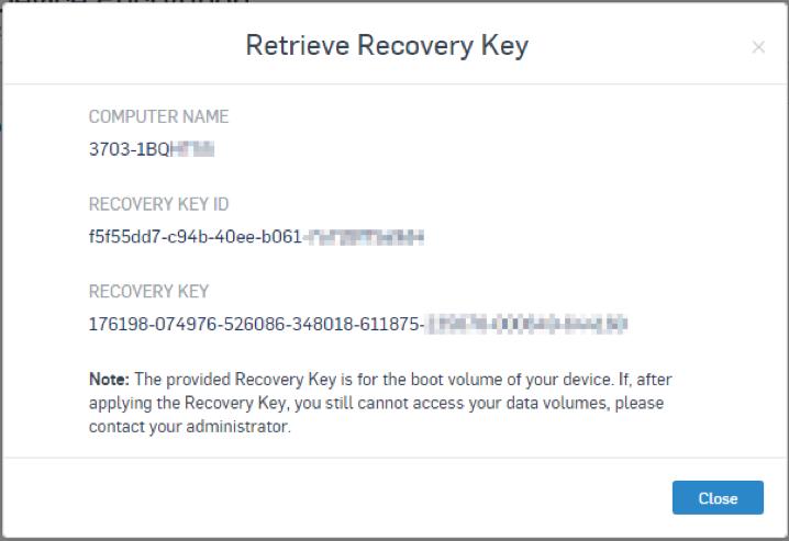 Retrieve recovery key screen