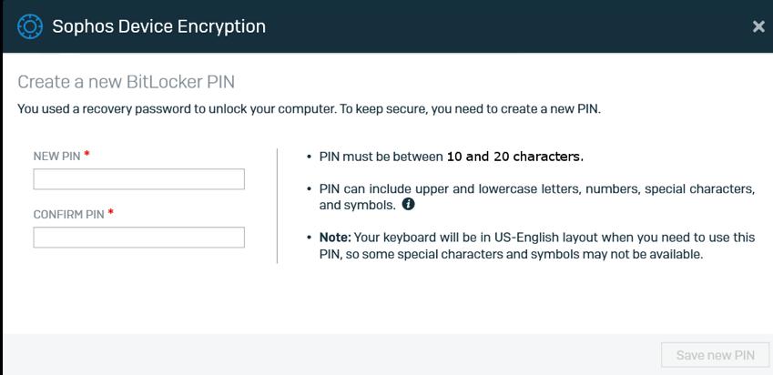 Create a new bitlocker PIN screen