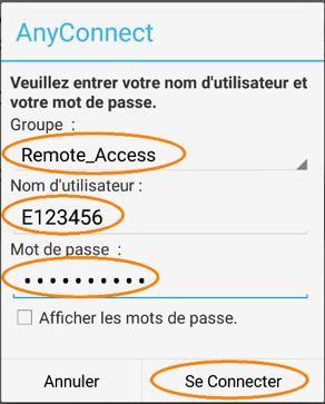 Installer et configurer un profil RPV, étape 13, écran de saisie d'identifiants