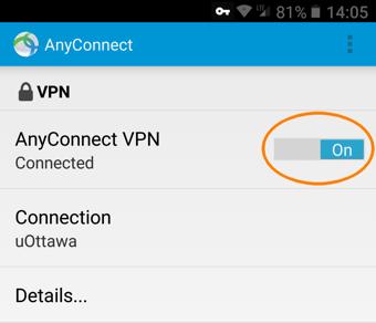 Installer et configurer un profil RPV, étape 16, tapez sue le bouton de controôle