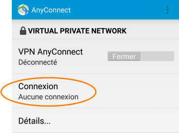 Installer et configurer un profil RPV, étape 5, tapez sur COnnection