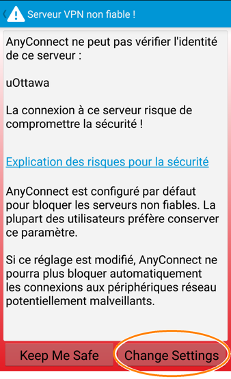 Installer et configurer un profil RPV, étape 9, tapez sur Change Settings