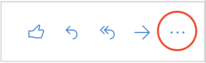 Outlook on the web email actions, shows thumbs up symbol, reply symbol, forward symbol, and three horizontal dots